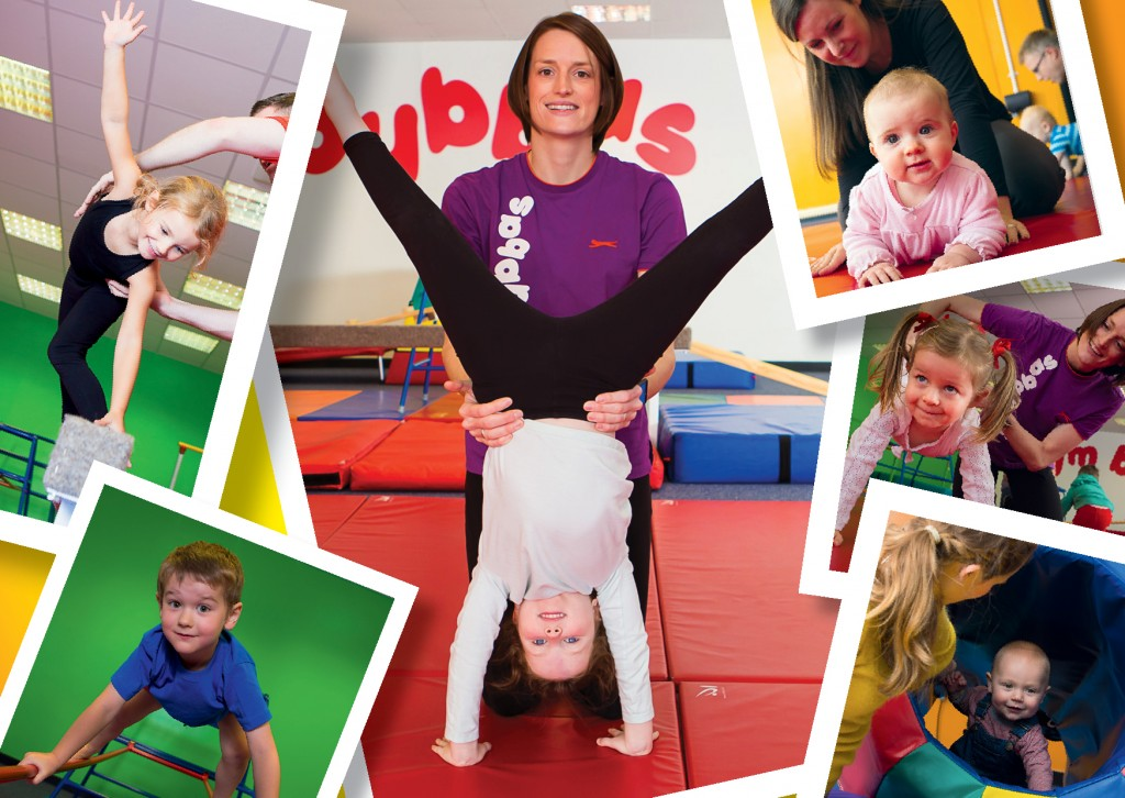 Collage of children doing gymnastics