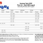 Gym Bubbas Summer 2019 timetable